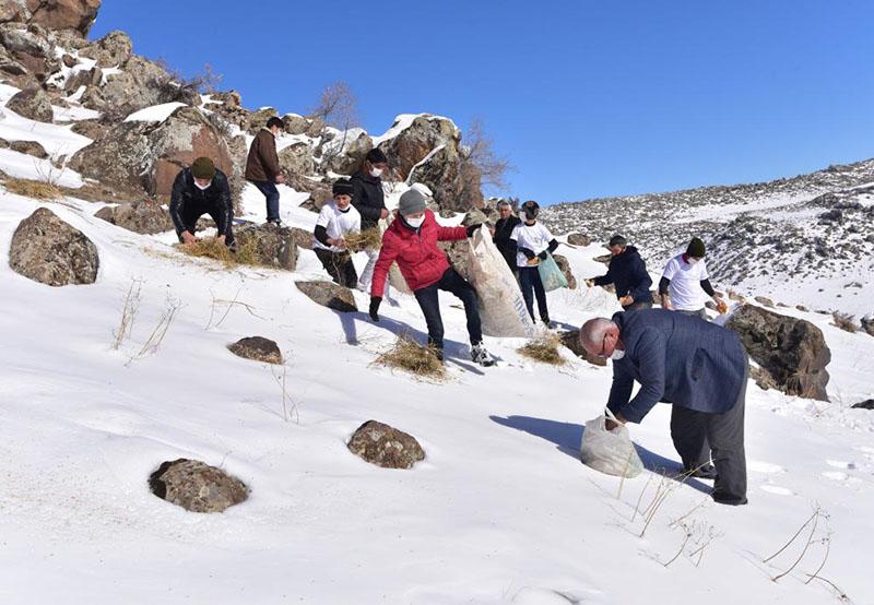 Süphan Dağı eteklerine yaban hayvanları için yem bırakıldı