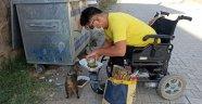 Engelli genç hayatını sokak hayvanlarına adadı