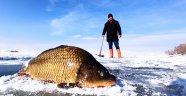 Yüzeyi Buz Tutan Nazik Gölü'nde Balık Avı